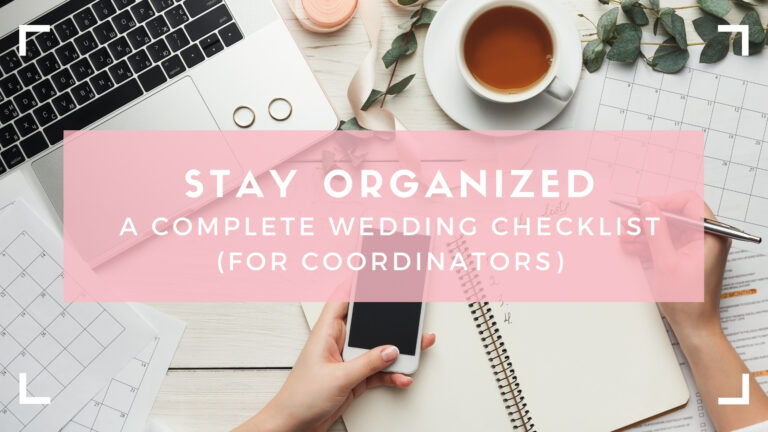 Header image for wedding checklist: top down look at phone, planner, and computer