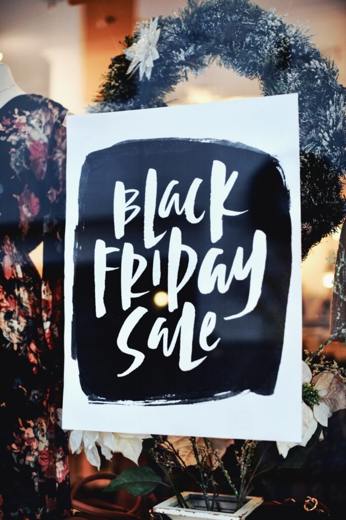 Black and white poster black friday sale shop window