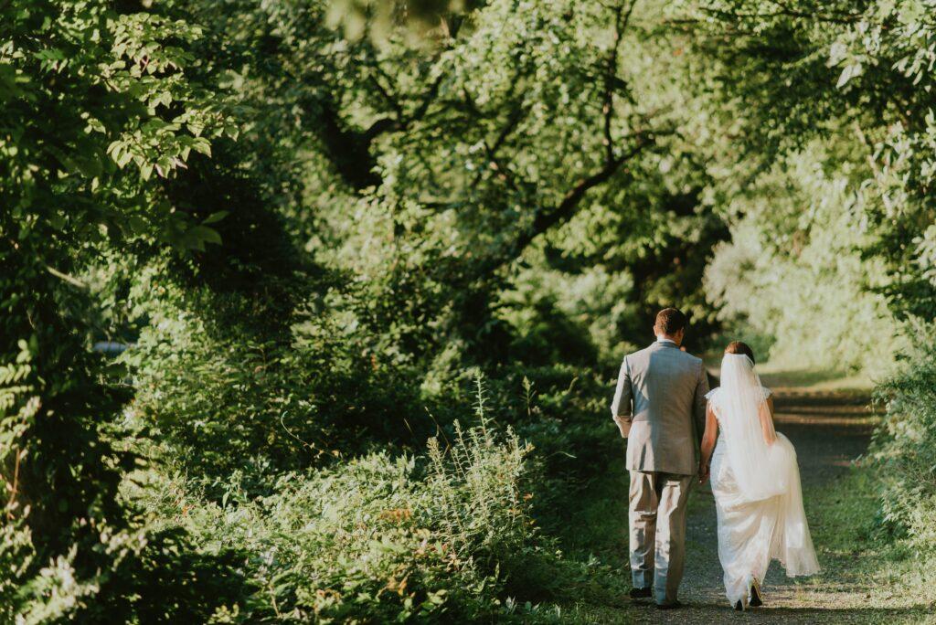 outdoor wedding photo, bride and groom